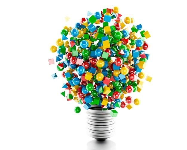 Lampada a luce 3d con forme geometriche e colorate.
