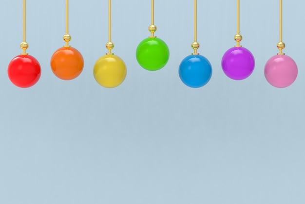 Lampada della sfera di stile di colore arcobaleno lgbt con sfondo blu muro copia spazio.