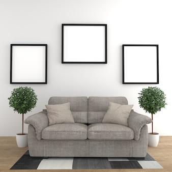 Lampada e cornici delle piante dei cuscini del sofà - pavimento di legno sul fondo bianco della parete. rendering 3d