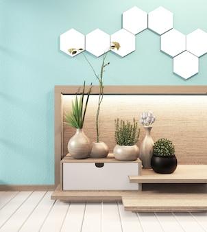Lampada esagonale a piastrella su parete leggera hiden e mobile in legno minimal in stile giapponese moderno con zen alla menta