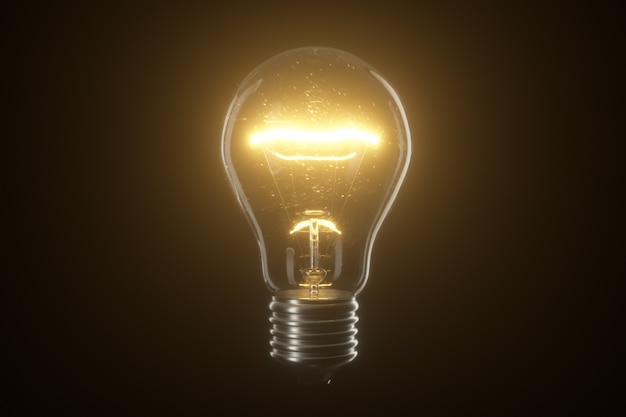 Lampada lampadina su sfondo nero isolato
