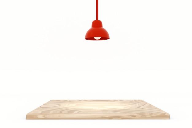 Lampada rossa con l'isolato di legno della tavola superiore su fondo bianco, illustrazione 3d.
