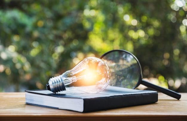 Lampadina e un libro sul tavolo