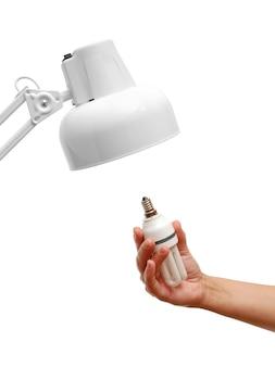 Lampadina economizzatrice d'energia a disposizione e lampada isolata su bianco