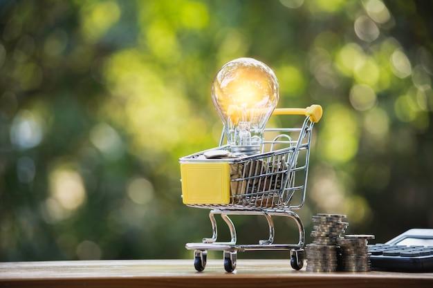 Lampadina economizzatrice d'energia con il concetto finanziario e di acquisto del carrello