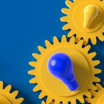 Lampadina gialla e blu sui precedenti blu dell'ingranaggio, concetto di idea