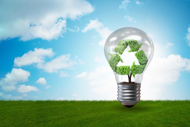 Lampadina in ambiente verde