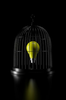 Lampadina in gabbia per uccelli. rendering 3d.