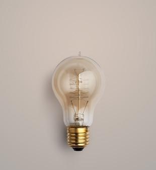 Lampadina pastello su fondo pastello, fondo di idee creative della lampadina