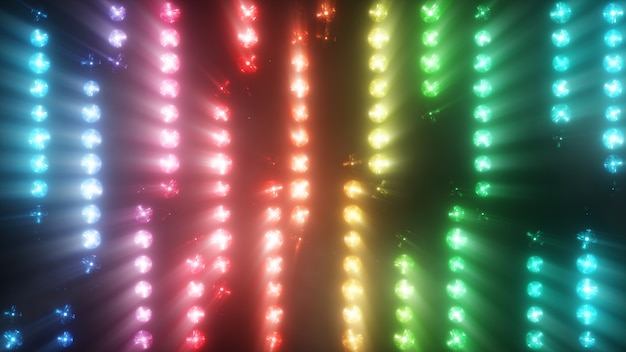 Lampeggiamento colorato di faretti multicolori di lampadine in trama dal basso verso l'alto con il fumo. illustrazione 3d