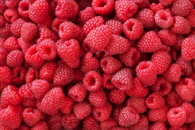 Lamponi freschi biologici con foglie di menta. sfondo di frutta con spazio di copia. estate e bacche raccolto concetto. vegano, vegetariano, cibo crudo.