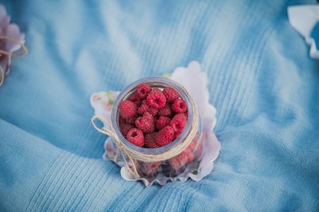 Lamponi rossi deliziosi che risiedono in un piccolo barattolo durante il picnic in parco all'aperto