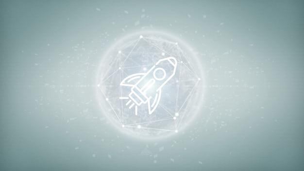 Lancio di una start up con un razzo su una sfera