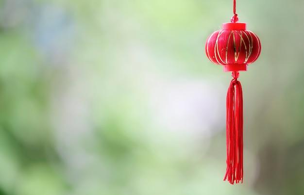 Lanterna cinese rossa con la priorità bassa della natura.