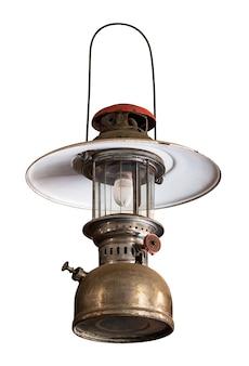 Lanterna d'attaccatura della tempesta isolata su bianco con il percorso di residuo della potatura meccanica