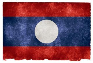 Laos grunge bandiera del laos