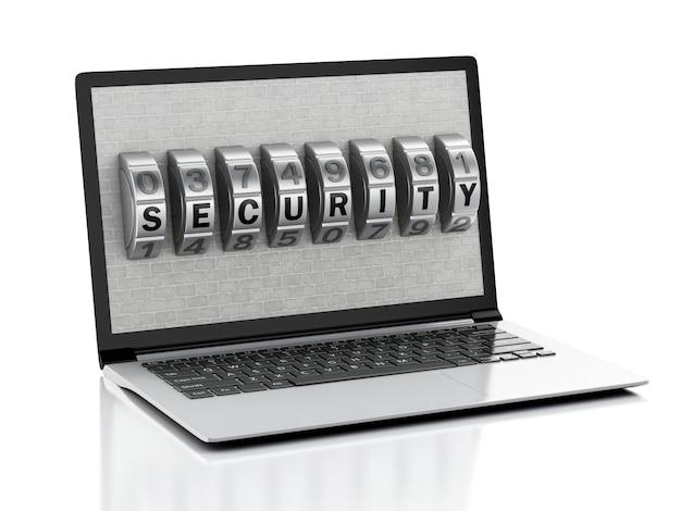 Laptop 3d con muro di mattoni e serratura a combinazione.