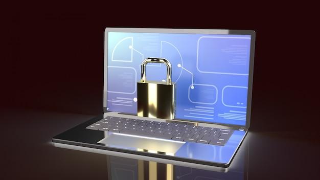 Laptop e chiave master per i contenuti di sicurezza del computer
