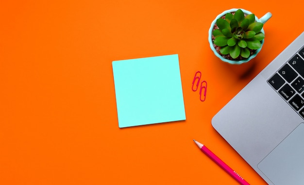 Laptop, fiori, adesivi, graffette, articoli di cancelleria su uno sfondo di color lava lussureggiante.