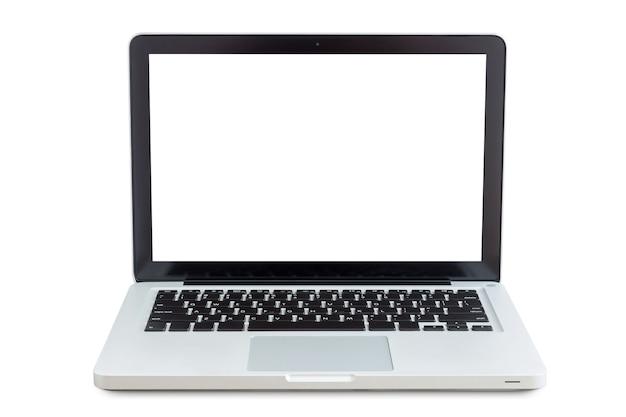 Laptop isolato su bianco con il percorso di clipping all'interno dei dati