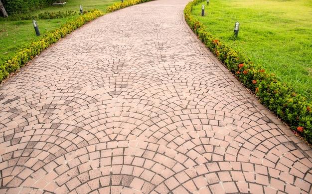 Lastra formata lastre di pietra tra terra con erba verde fresca