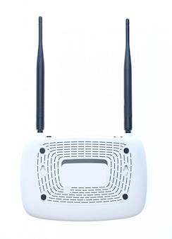 Lato posteriore del router di wi-fi di due antenne isolato su bianco