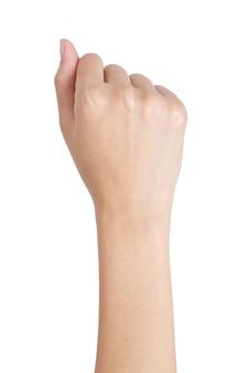 Lato posteriore di gesto di mano del pugno della donna isolato su bianco