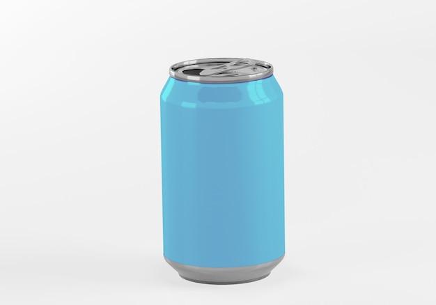 Latta di alluminio blu isolata su bianco
