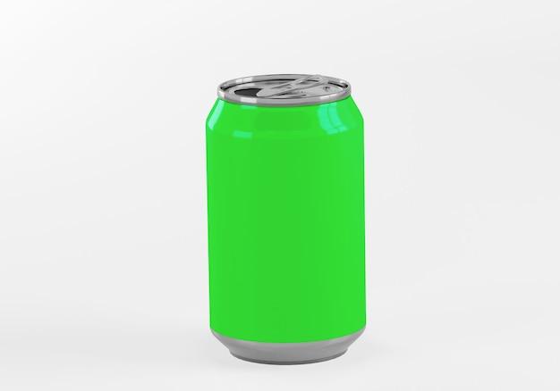 Latta di alluminio verde isolata su bianco