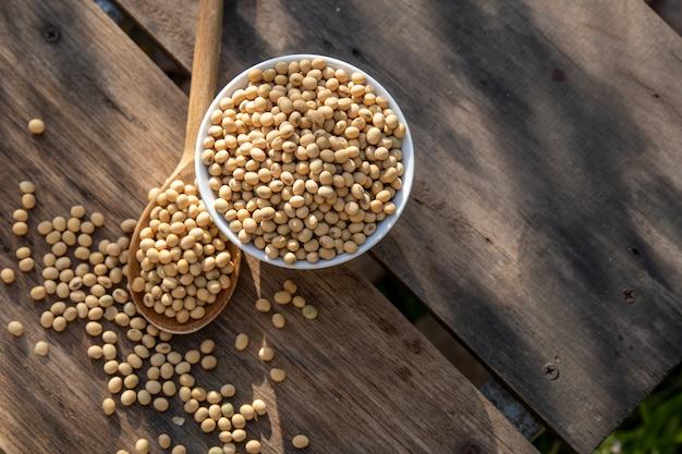 Latte di soia fresco e semi di soia sul tavolo di legno con illuminazione al mattino