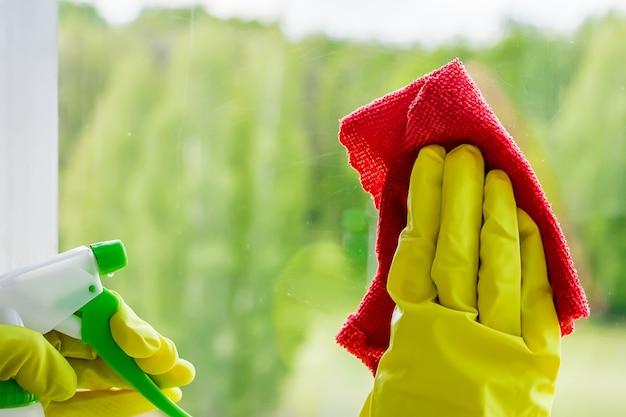 Lavaggio delle finestre e pulizia della casa. la donna spruzza un detersivo su un vetro.