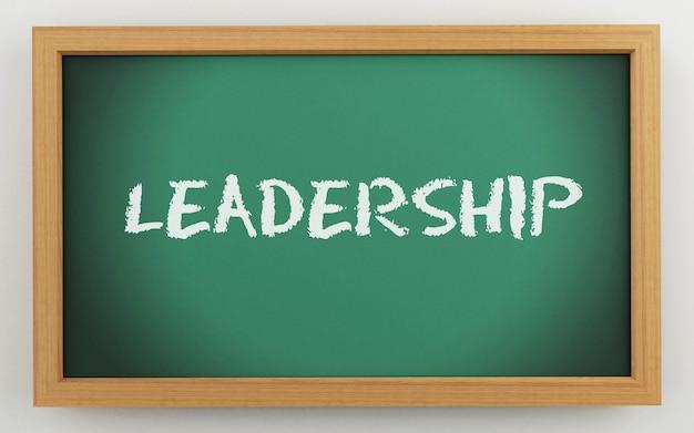 Lavagna 3d con testo di leadership