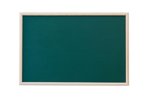 Lavagna verde vuota con cornice in legno isolato su sfondo bianco. copia spazio per il tuo testo