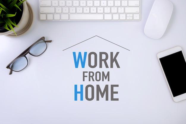 Lavora da casa concetto, protezione pandemia di covid-19 con quarantena e lavoro a casa.