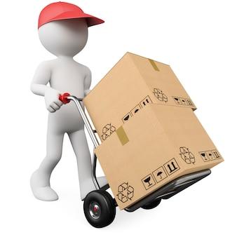 Lavoratore 3d che spinge un carrello a mano con le scatole
