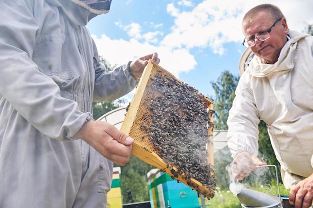 Lavoratori di apiari che fumano orticaria