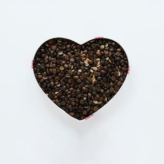 Lay piatto di scatola di chicchi di caffè