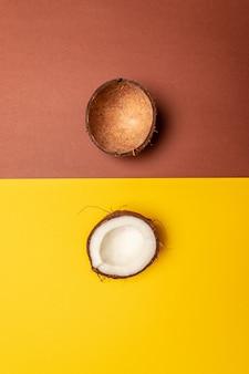 Layout creativo di due pezzi di cocco su uno sfondo.