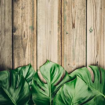 Layout piatto con foglie di monstera e prodotti per la cura cosmetica