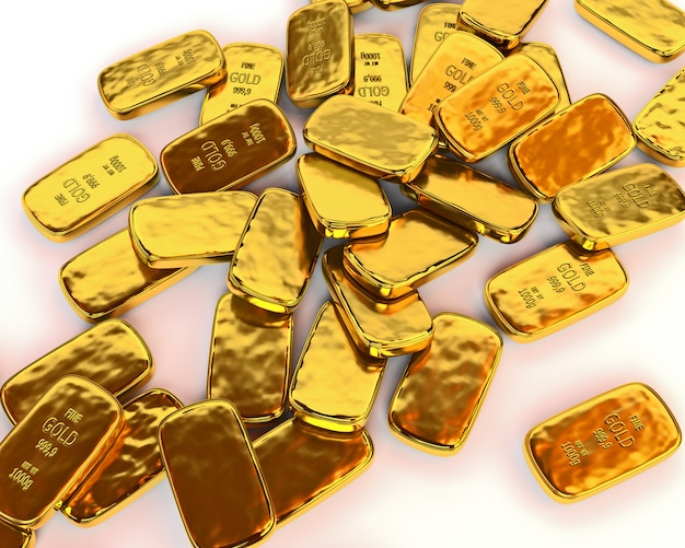 Le barre d'oro sono sparse su una superficie bianca. illustrazione 3d rendere