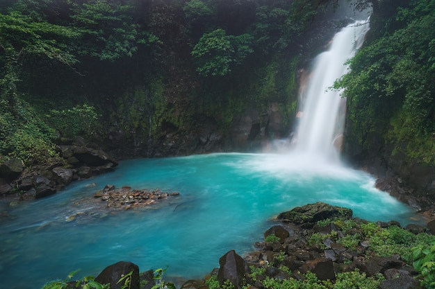 Le belle acque celesti hanno colorato le acque seriche della cascata di río celeste in costa rica