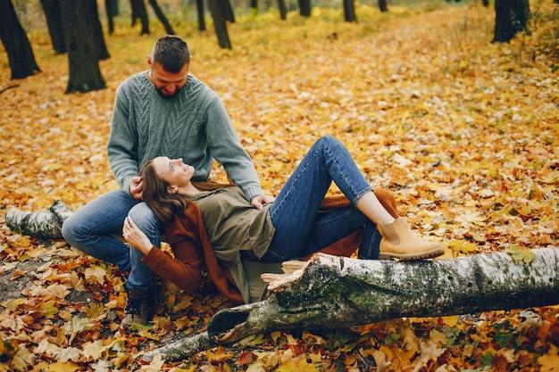Le belle coppie passano il tempo in un parco di autunno