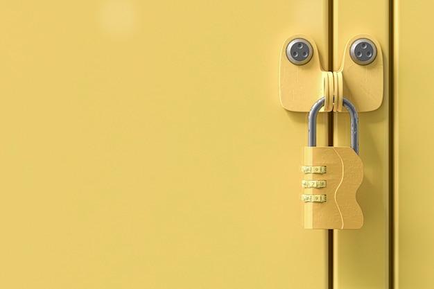 Le chiavi gialle degli armadietti sono vecchie e sporche e copiano lo spazio per il testo