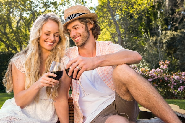 Le coppie felici che hanno un picnic e bevono il vino rosso nel giardino