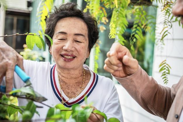 Le coppie senior asiatiche che si rilassano e godono di di giardinaggio nel patio, stile di vita pensionato