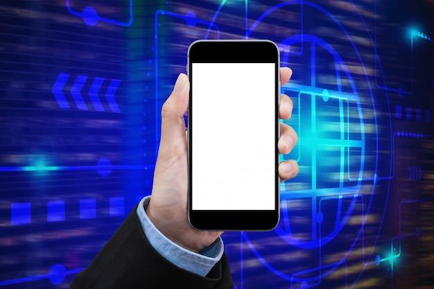 Le donne d'affari mostrano uno smartphone con schermo bianco sulla superficie della tecnologia