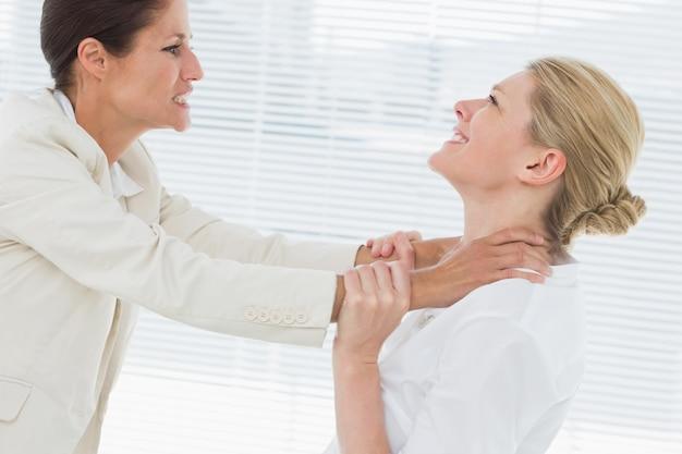 Le donne di affari che hanno una lotta violenta in ufficio