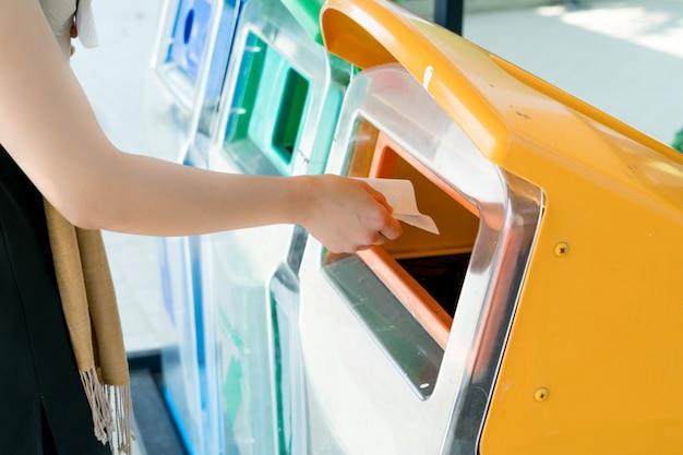 Le donne gettano via la spazzatura nel cestino o nella spazzatura
