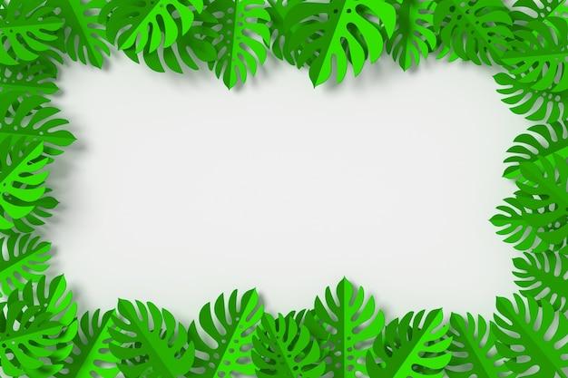 Le foglie verdi sono incorniciate su fondo bianco, rappresentazione 3d
