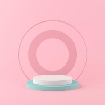 Le forme della geometria della rappresentazione 3d deridono sul concetto minimo della scena, sul podio di colore pastello e sul fondo per il prodotto o il profumo